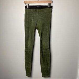Theory Lamb Suede Legging Pants in Olive